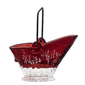Antique Novelty Ruby Stained Coal Scuttle or coal bucket, Souvenir of White City