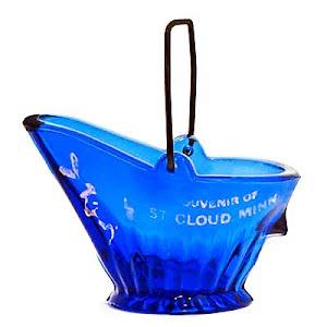 Antique Novelty blue coal scuttle or coal basket