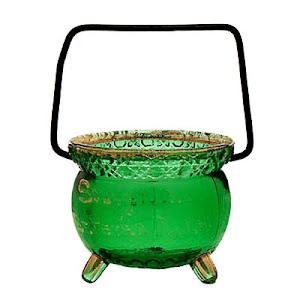 Antique Novelty Green Witches Pot, Souvenir of St. Peter, Minn