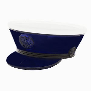 Antique novelty blue glass military hat with removable lid