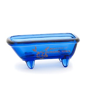 Antique novelty blue glass bath tub