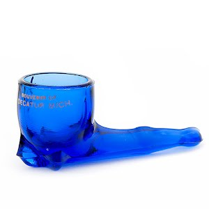 Antique novelty blue glass pipe