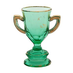 Antique Novelty apple green glass loving cup