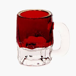 Antique Novelty ruby stained glass tiny beer mug