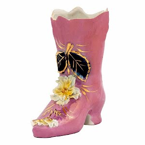Antique Collectible Porcelain pink luster Boot with gold and flowers