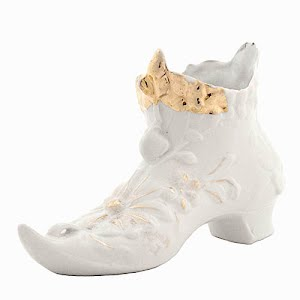 Antique Collectible White Porcelain Boot with gold