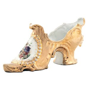 Antique Collectible Gold Porcelain Slipper Shoe with flowers