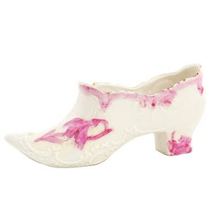 Antique Collectible White Porcelain Slipper Shoe with pink decoration
