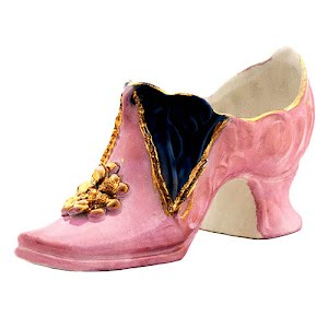 Antique Collectible Pink Luster Porcelain Slipper Shoe with gold and cobalt blue decoration