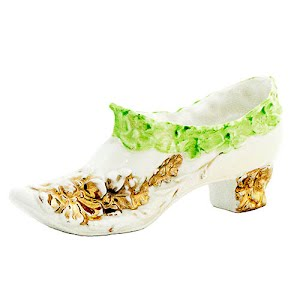 Antique Collectible White Porcelain Slipper Shoe with gold and green decoration