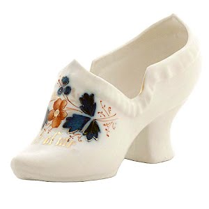 Antique Collectible White Porcelain Slipper Shoe with flower decoration