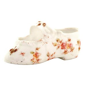 Antique Collectible White Porcelain Baby Shoe with pink flower decoration