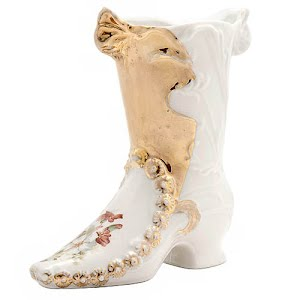 Antique Collectible Porcelain Boot gold with flowers