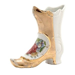 Antique Collectible Porcelain Boot white and gold with flowers