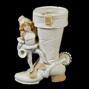 Antique Pottery White Cowboy Boot with Elf