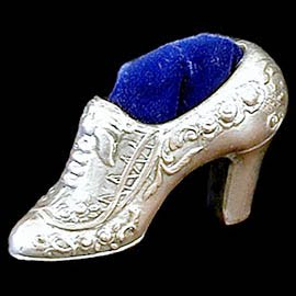 Antique Collectible Miniature Silver Pincushion Slipper