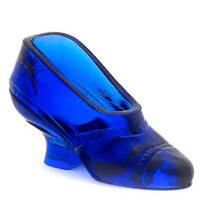 Antique Collectible cobalt blue glass shoe