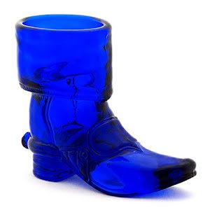 Antique Collectible cobalt blue glass boot