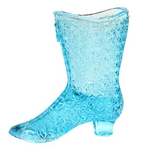 Antique Collectible electric blue button and daisy glass boot