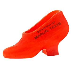 Antique Collectible Glass Shoe pained orange, souvenir of Marlin, Texas