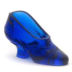 Antique Collectible Cobalt Glass Shoe
