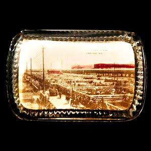 Antique Glass Paperweight Souvenir Busy Alley Union Stockyards, Chicago