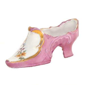 Antique Collectible miniature pink luster and white porcelain slipper shoe with enamel flowers