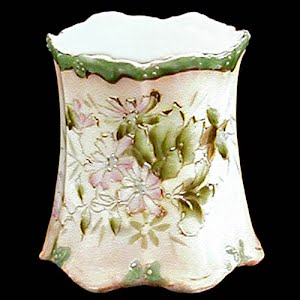 Antique Porcelain Toothpick Holder, white with flowers and leaves