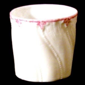 Antique Porcelain Toothpick Holder, white and pink