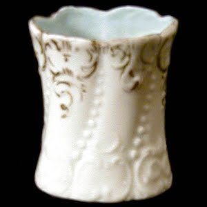 Antique Porcelain Toothpick Holder, white, gold and blue