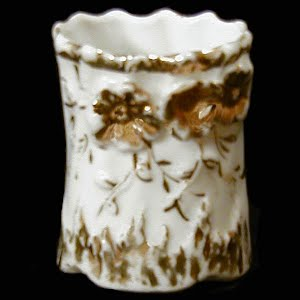 Antique Porcelain Toothpick Holder, white and gold