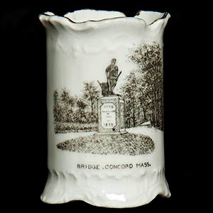 Antique Porcelain Toothpick Holder, white souvenir of Lexington Monument