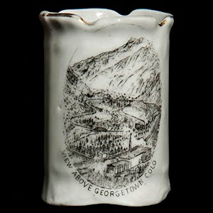 Antique Porcelain Toothpick Holder, white souvenir of Georgetown