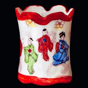Antique Porcelain Toothpick Holder, white with Japanese Dancers