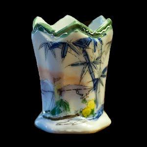 Antique Porcelain Toothpick Holder, tropical scene