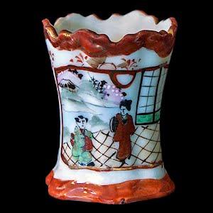 Antique Porcelain Toothpick Holder, white with Japanese tea house scene