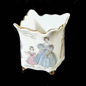 Antique Porcelain Toothpick Holder, white with Victorian ladies