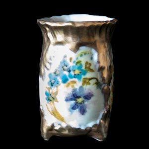 Antique Porcelain Toothpick Holder, white and gold with flowers