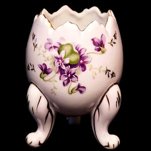 Antique Porcelain Vase, pink with violets