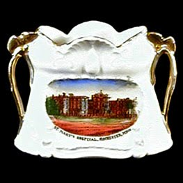 Antique Porcelain Vase, souvenir St Mary's Hospital, Rochester, Minnesota