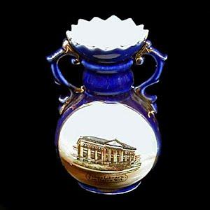Antique Porcelain Vase, cobalt blue souvenir Eau Clair, Wisconsin