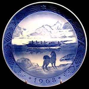 Vintage Blue and White Plate, 1968 Royal Copenhagen Christmas Plate