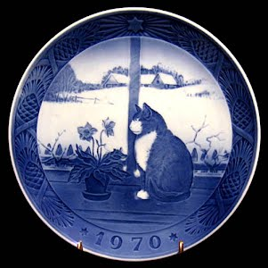 Vintage Blue and White Plate, 1970 Royal Copenhagen Christmas Plate