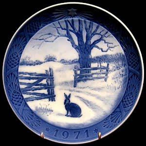 Vintage Blue and White Plate, 1971 Royal Copenhagen Christmas Plate