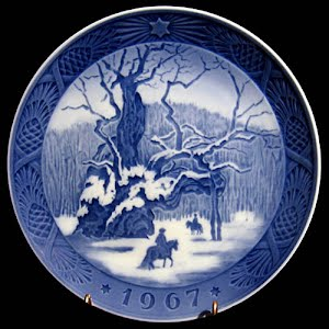 Vintage Blue and White Plate, 1967 Royal Copenhagen Christmas Plate