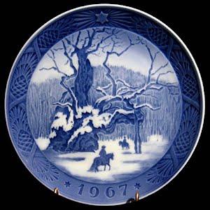 Vintage Blue and White Plate, 1967 Royal Copenhagen Christmas Plate