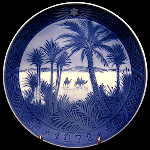 Vintage Blue and White Plate, 1972 Royal Copenhagen Christmas Plate