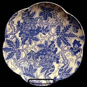 Vintage Blue and White Spode Plate, Grape design