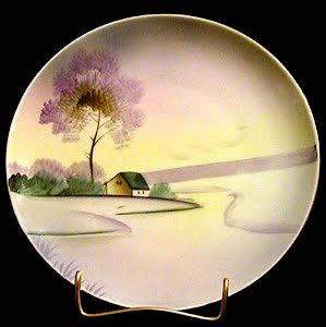 Antique Plate, hand painted porcelain scenery