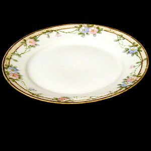 Antique Nippon Plate, hand painted porcelain with flowers decoration